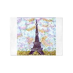 Eiffel Tower Pointillism by Kristie 5'x7'Area Rug