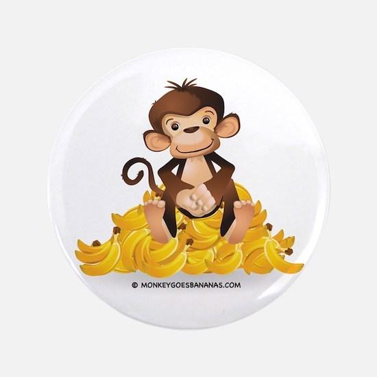 """Go Bananas - Monkey Goes Bananas 3.5"""" Button"""