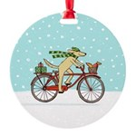 Dog and Squirrel Holiday Round Ornament