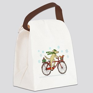 Dog and Squirrel Holiday Canvas Lunch Bag