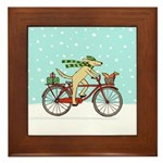 Dog and Squirrel Holiday Framed Tile