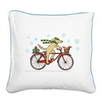 Dog and Squirrel Holiday Square Canvas Pillow