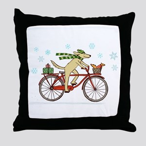 Dog and Squirrel Holiday Throw Pillow