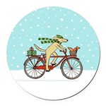 Dog and Squirrel Holiday Round Car Magnet