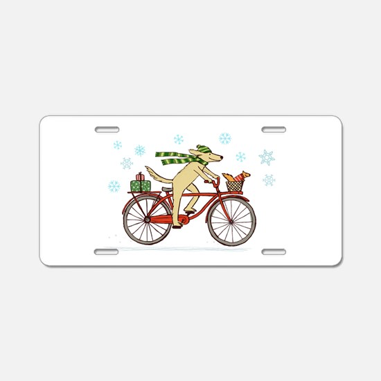 Dog and Squirrel Holiday Aluminum License Plate