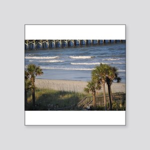 "Beach Time Square Sticker 3"" x 3"""