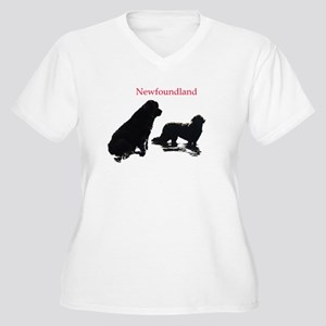Newfoundland Dogs Women's Plus Size V-Neck T-Shirt