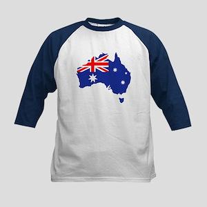Australia map flag Kids Baseball Jersey
