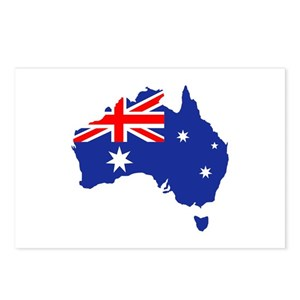 Australia Map With Flag.Australia Map Flag Postcards Package Of 8