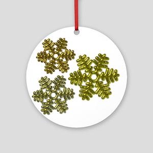 Snowflakes Metallic 3D Design Ornament (Round)