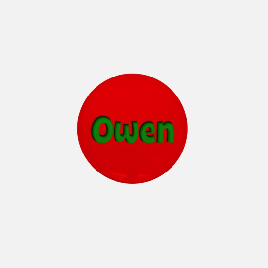 Owen Red and Green Mini Button