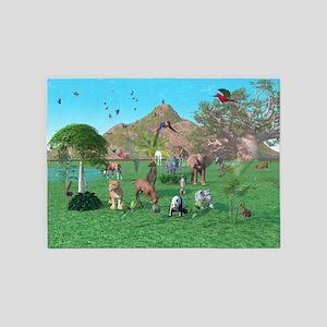 An exotic wild animal scene 5'x7'Area Rug