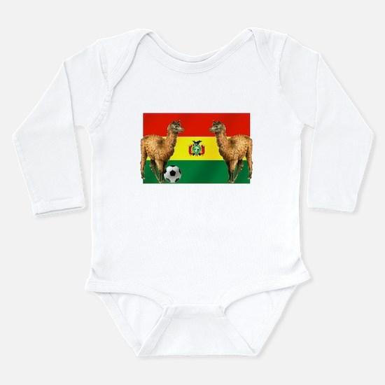 Bolivian Soccer Flag Long Sleeve Infant Bodysuit