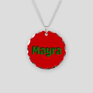 Mayra Red and Green Necklace Circle Charm