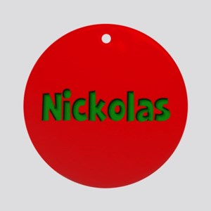 Nickolas Red and Green Ornament (Round)