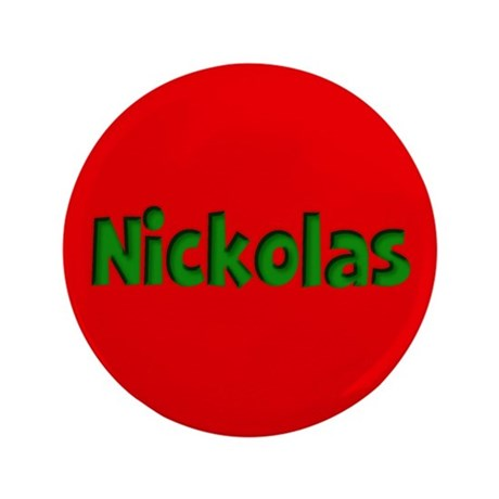 "Nickolas Red and Green 3.5"" Button"