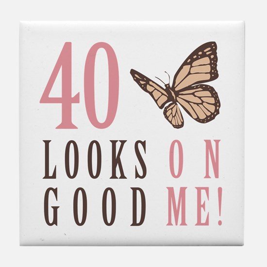 40th Birthday Butterfly Tile Coaster