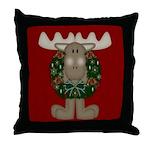 Christmas Moose Throw Pillow