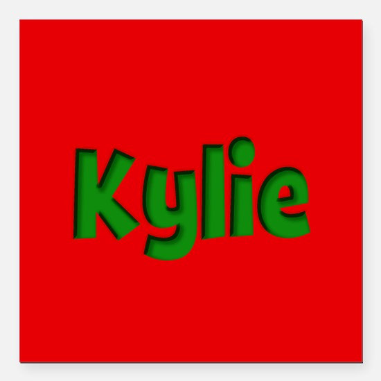 "Kylie Red and Green Square Car Magnet 3"" x 3"""
