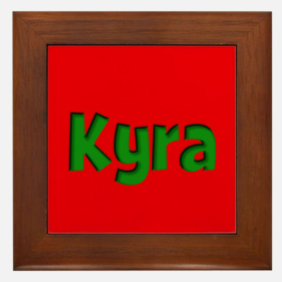 Kyra Red and Green Framed Tile