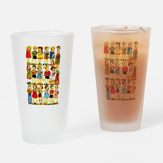 Vintage German Paper Dolls Drinking Glass