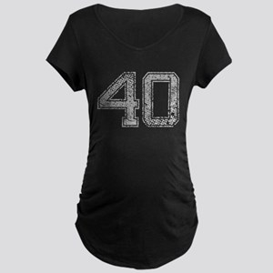 40, Grey, Vintage Maternity Dark T-Shirt