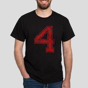 4, Red, Vintage Dark T-Shirt