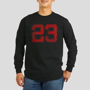 23, Red, Vintage Long Sleeve Dark T-Shirt