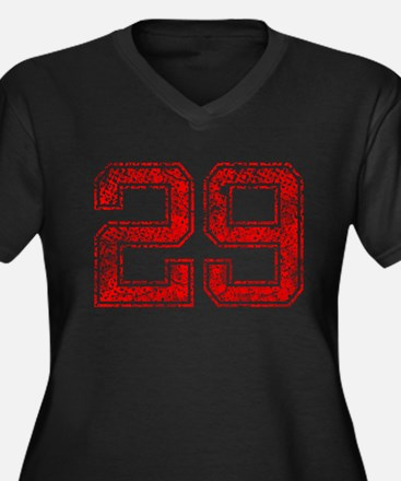 29, Red, Vintage Women's Plus Size V-Neck Dark T-S