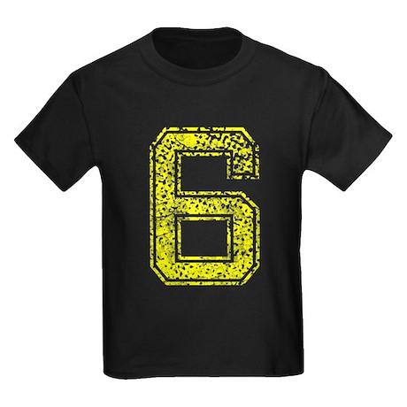 6, Yellow, Vintage Kids Dark T-Shirt