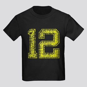 12, Yellow, Vintage Kids Dark T-Shirt