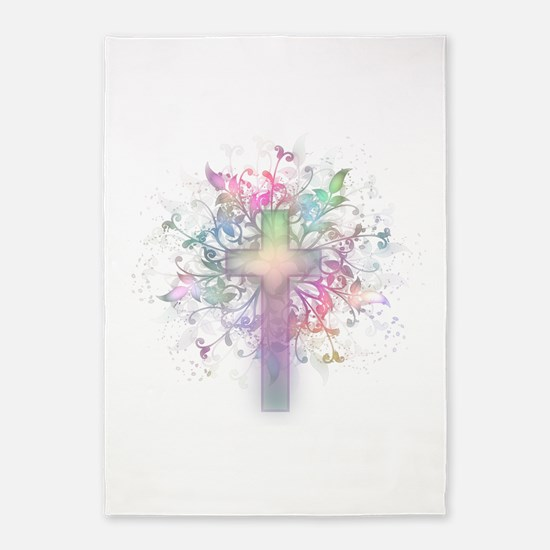 Rainbow Floral Cross 5'x7'Area Rug