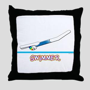 Swimmer (Girl) Throw Pillow