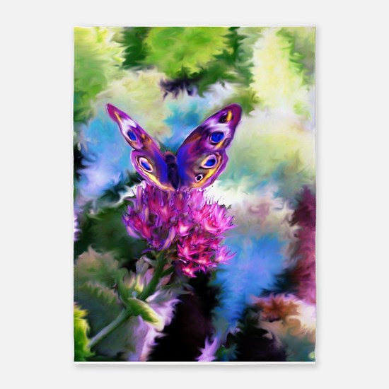 Colorful Abstract Butterfly 5'x7'Area Rug