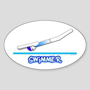 Swimmer (Girl) Blue Suit Oval Sticker