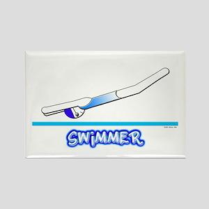 Swimmer (Girl) Blue Suit Rectangle Magnet
