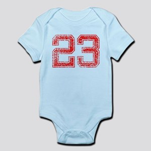 23, Red, Vintage Infant Bodysuit