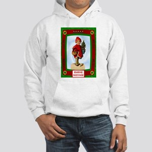 Vintage child with a Christmas tree Hooded Sweatsh