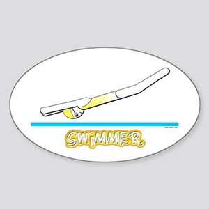 Swimmer (Girl) Yellow Suit Oval Sticker