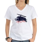 Flying boar Women's V-Neck T-Shirt