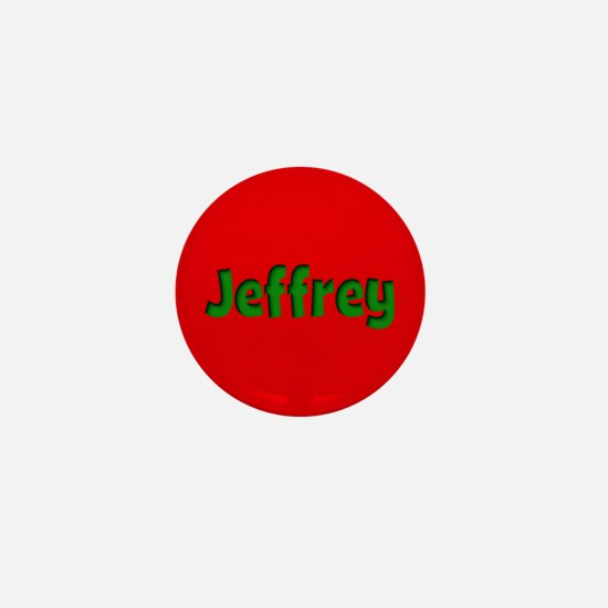 Jeffrey Red and Green Mini Button