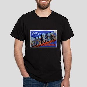 Long Beach California (Front) Black T-Shirt