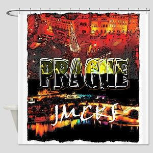 prague czech republic art illustration Shower Curt