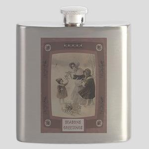 Victorian Christmas photograph Flask