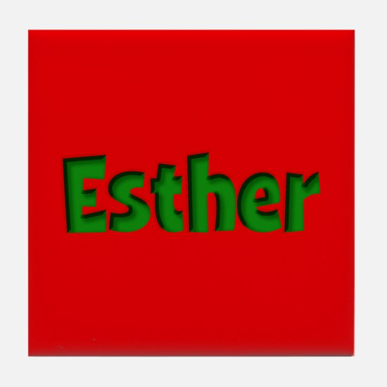 Esther Red and Green Tile Coaster