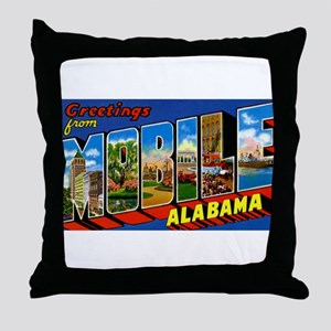 Mobile Alabama Greetings Throw Pillow