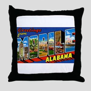 Mobile Alabama Greetings Throw Pillow