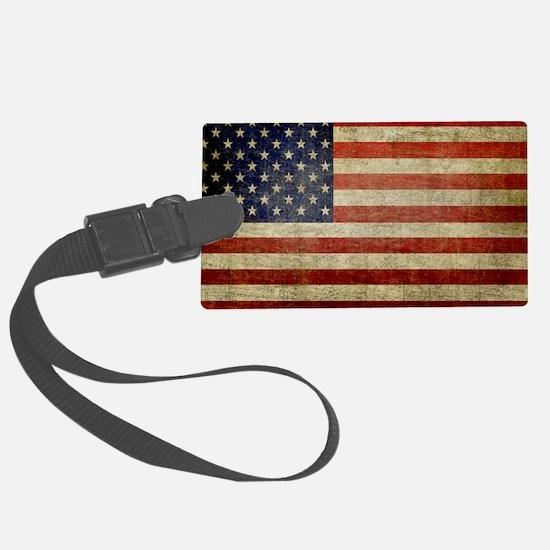 Weathered American Flag Large Luggage Tag
