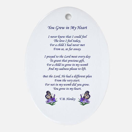 Adoption Poem Oval Ornament