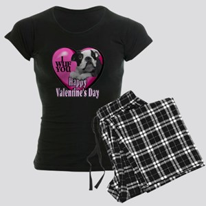 Boston Terrier V-Day Women's Dark Pajamas